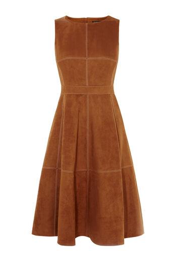 Karen Millen, SUEDE FLARED DRESS Tan 0
