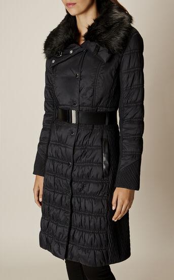 Karen Millen, BELTED PADDED COAT Black 3