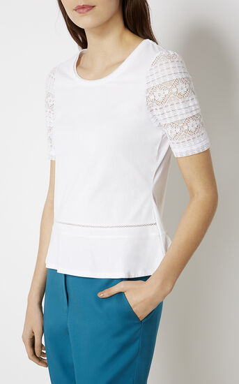 Karen Millen, TY153 BEAUTIFUL TOP WITH LACE White 2