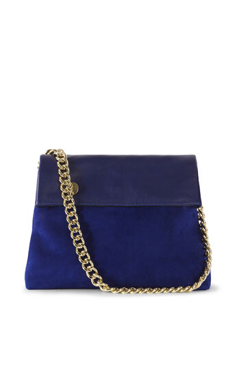 Karen Millen, REGENT SUEDE AND LEATHER BAG Blue 0