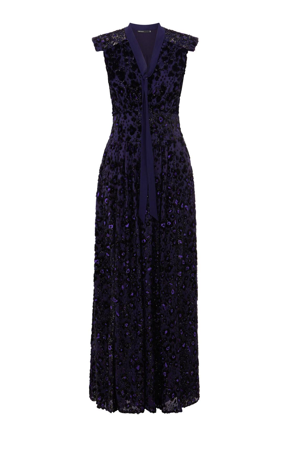 Karen Millen, PURPLE TEXTURE MAXI DRESS Purple 0