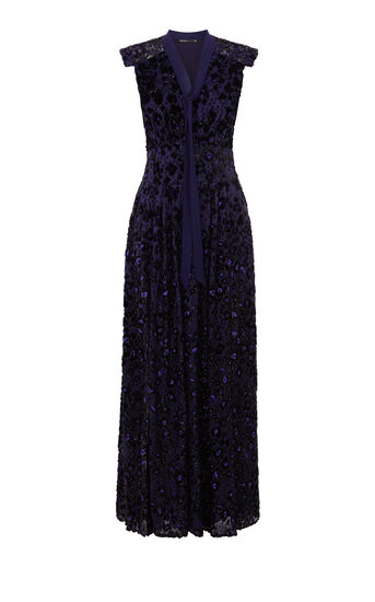 Karen Millen, PURPLE TEXTURE MAXI DRESS Purple 0