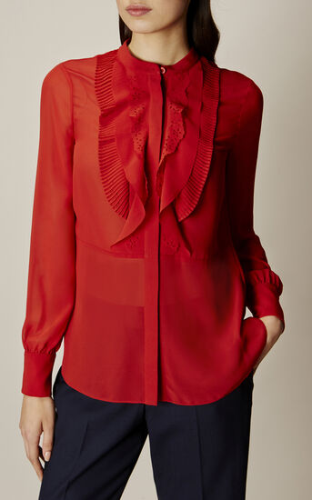 Karen Millen, Ruffle-front blouse Orange 3