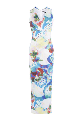 Karen Millen, ORCHID-PRINT MAXI DRESS Multicolour 0