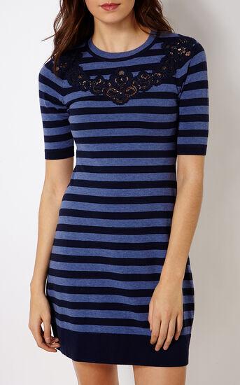 Karen Millen, KNITTED STRIPE DRESS Blue 2