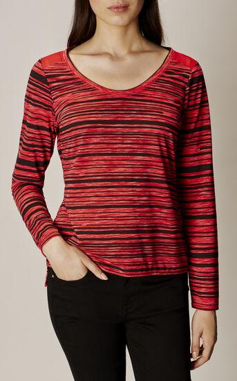 Karen Millen, STRIPE T-SHIRT Red/Multi 2