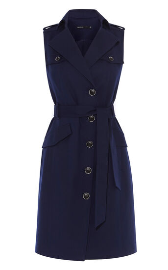 Karen Millen, MILITARY SHIRT DRESS Navy 0