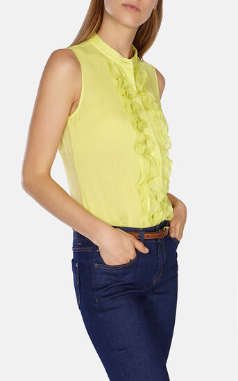 Karen Millen, RUFFLE FRONT SLEEVELESS BLOUSE Yellow 2