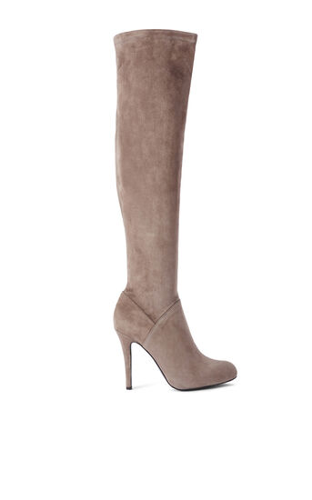 Karen Millen, STRETCH SUEDE OVER KNEE BOOTS Taupe 0