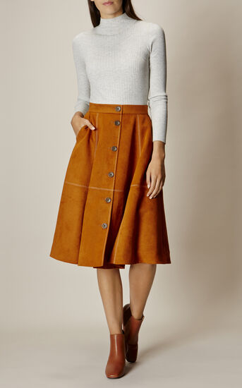 Karen Millen, BUTTON-FRONT FAUX-SUEDE SKIRT Tan 1