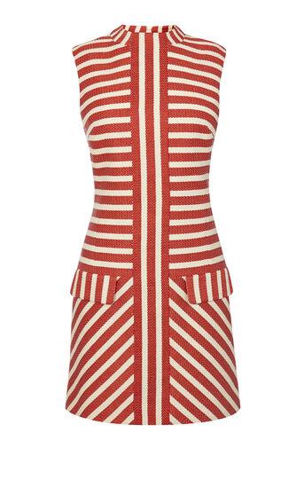 Karen Millen, STRIPED TWEED SHIFT DRESS Red/Multi 0