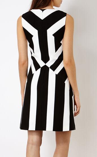 Karen Millen, STRIPED A-LINE DRESS Blk&Wht 3