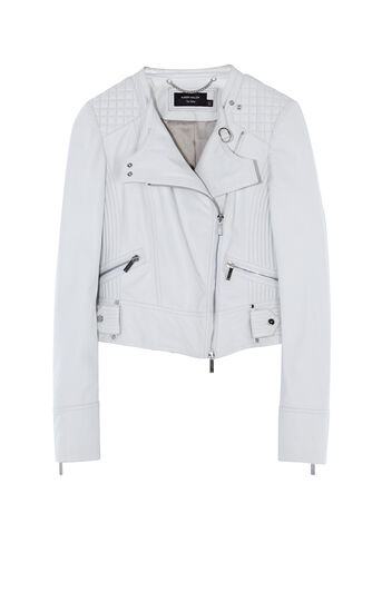 Karen Millen, WHITE LEATHER BIKER JACKET White 0
