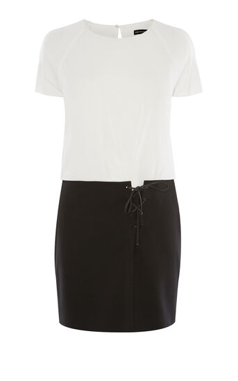 Karen Millen, T-SHIRT DRESS Black & Ivory 0