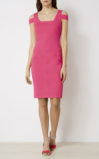 Karen Millen, COTTON PENCIL DRESS Pink 1