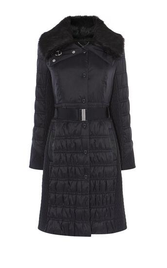 Karen Millen, BELTED PADDED COAT Black 0