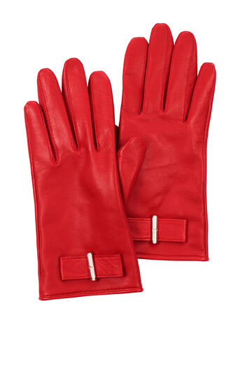 Karen Millen, LEATHER BOW GLOVE Red 0