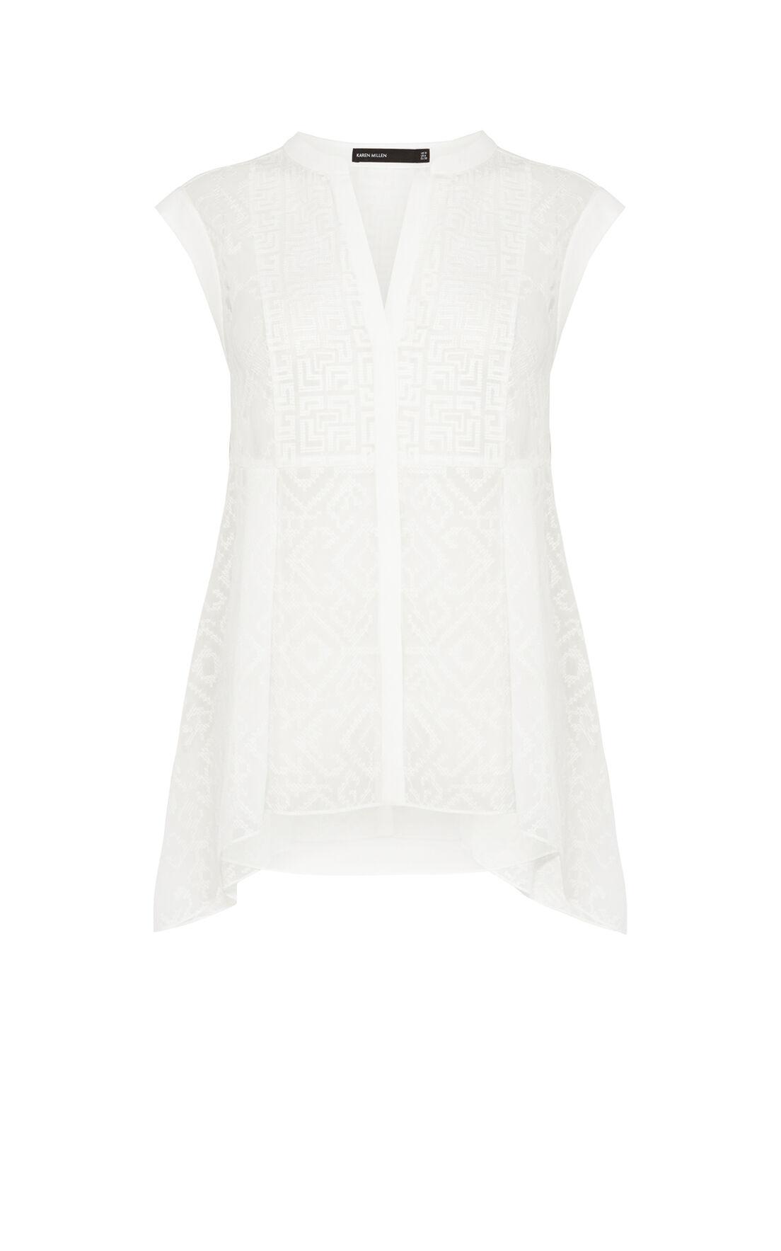 Karen Millen, Softly tailored embroidered vo White 0