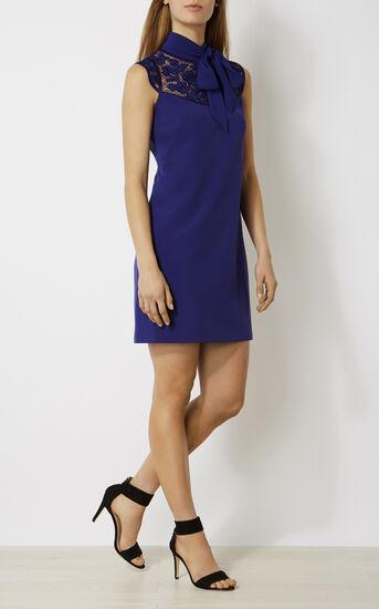 Karen Millen, FLORAL HIGH-NECK MINIDRESS Purple 1