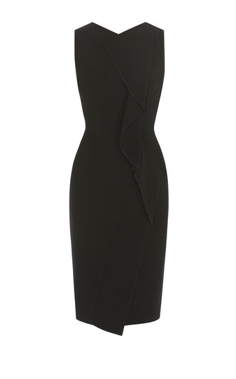 Karen Millen, SUBTLE RUFFLE DRESS Black 0