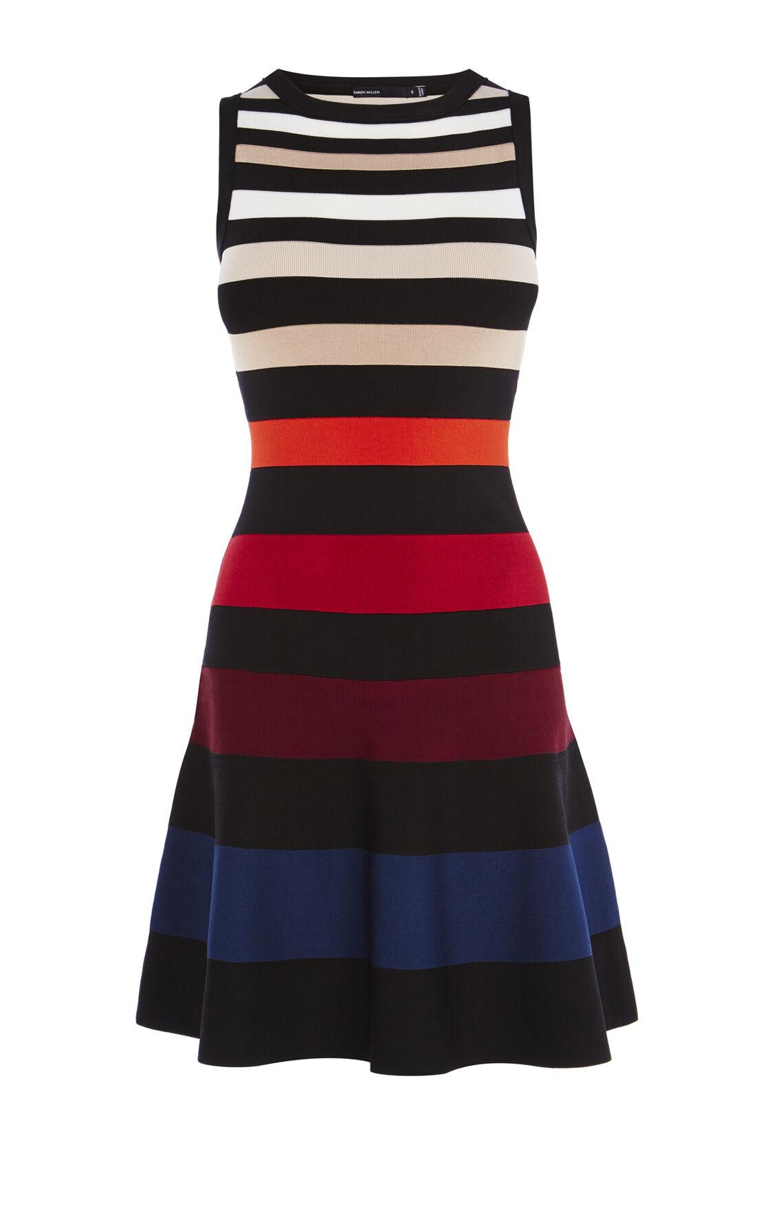 Karen Millen, COLOUR-STRIPE DRESS Multicolour 0