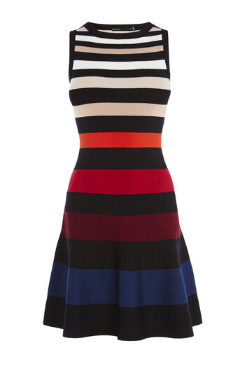 Karen Millen, COLOUR-STRIPE DRESS Multicolour 0