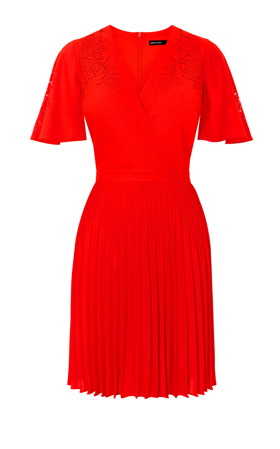 Karen Millen, LASER CUT-OUT DRESS Red 0