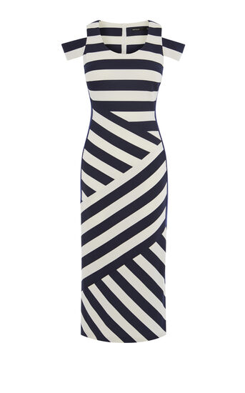 Karen Millen, STRIPED MIDI DRESS Blue/Multi 0