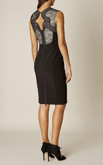 Karen Millen, LACE PANEL DRESS Black/Multi 3