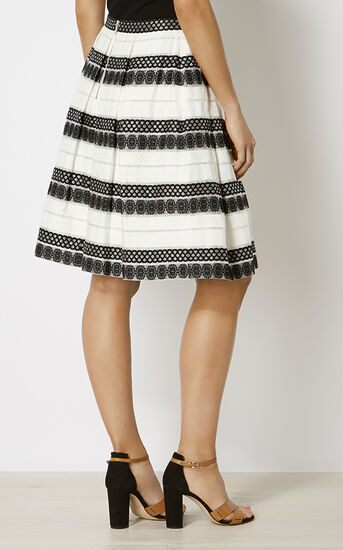 Karen Millen, DEVORÉ STRIPE MIDI SKIRT Black & White 3