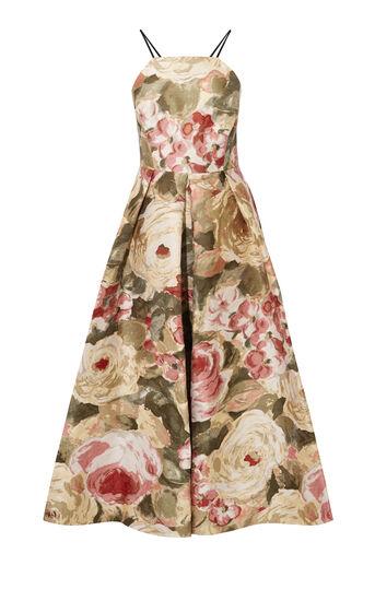 Karen Millen, FLORAL JACQUARD MAXI DRESS Multicolour 0