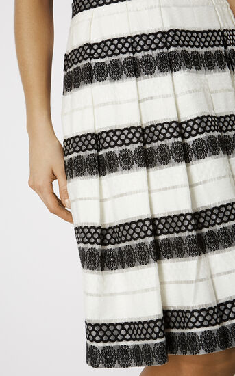 Karen Millen, DEVORÉ STRIPE MIDI SKIRT Black & White 4