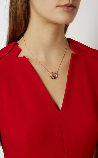 Karen Millen, Crystal Ribbon Pendant Rose Gold Colour 1