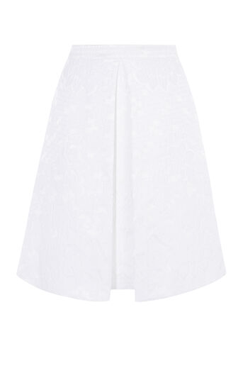 Karen Millen, JACQUARD FULL SKIRT White 0