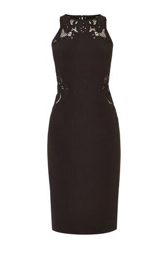 Karen Millen, CUTWORK PENCIL DRESS Black 0