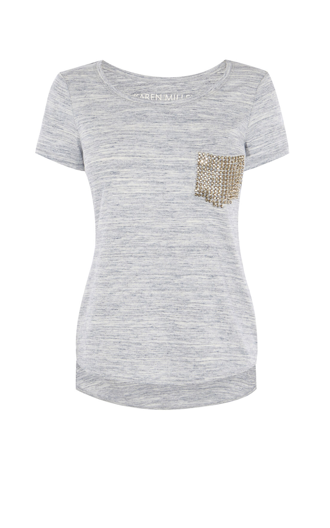 Karen Millen, STUDDED POCKET T-SHIRT Pale Blue 0