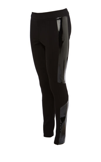 Karen Millen, PATENT SIDE STRIPE LEGGING Black 0