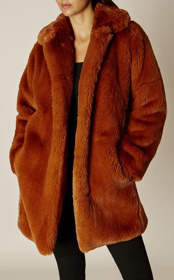 Karen Millen, TEDDY FUR COAT Tan 1
