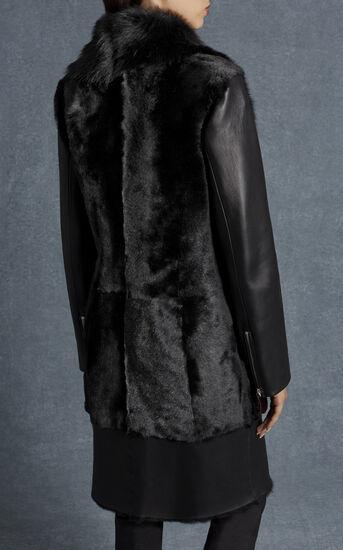Karen Millen, BLACK SHEARLING COAT Black 4