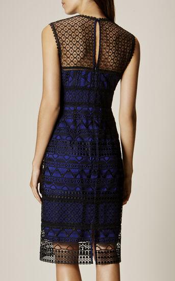 Karen Millen, GRAPHIC LACE PENCIL DRESS Black/Multi 3