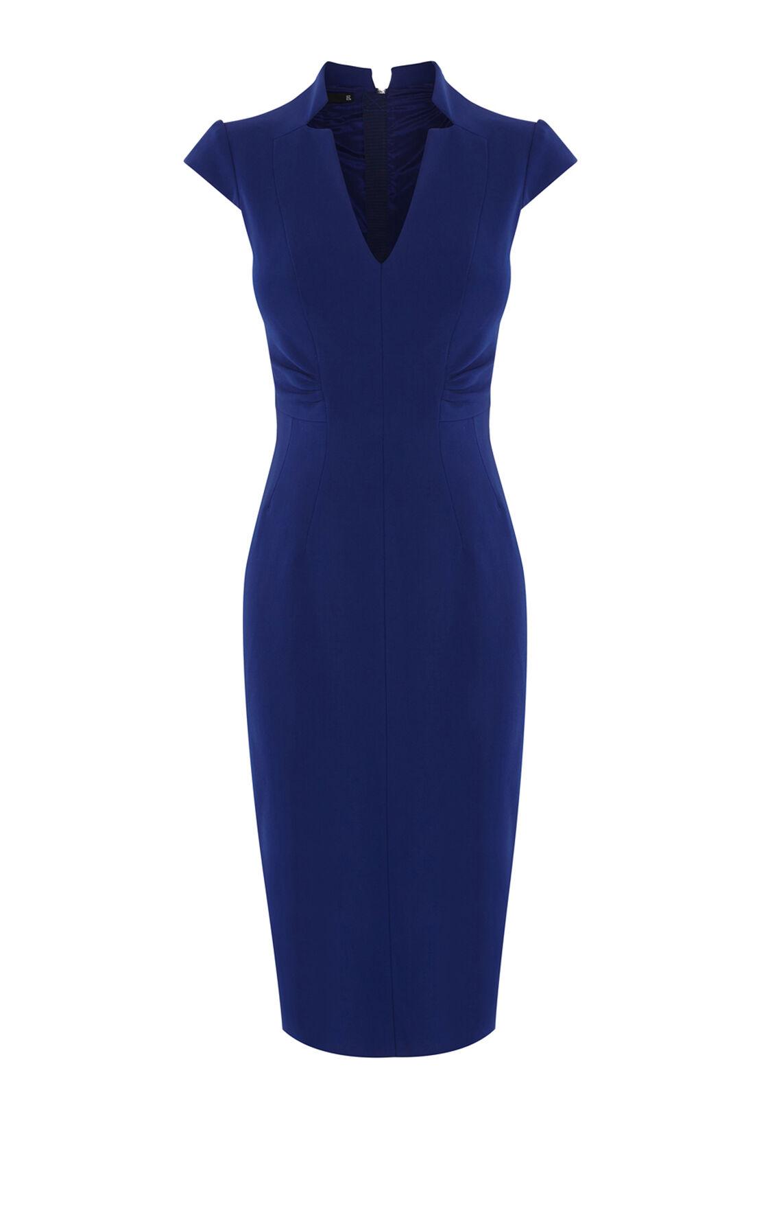 Karen Millen, V-NECK DRESS Blue 0