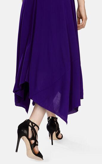 Karen Millen, FLUID CREPE LONG DRESS Purple 4