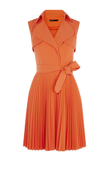 Karen Millen, PLEATED TRENCH DRESS Orange 0