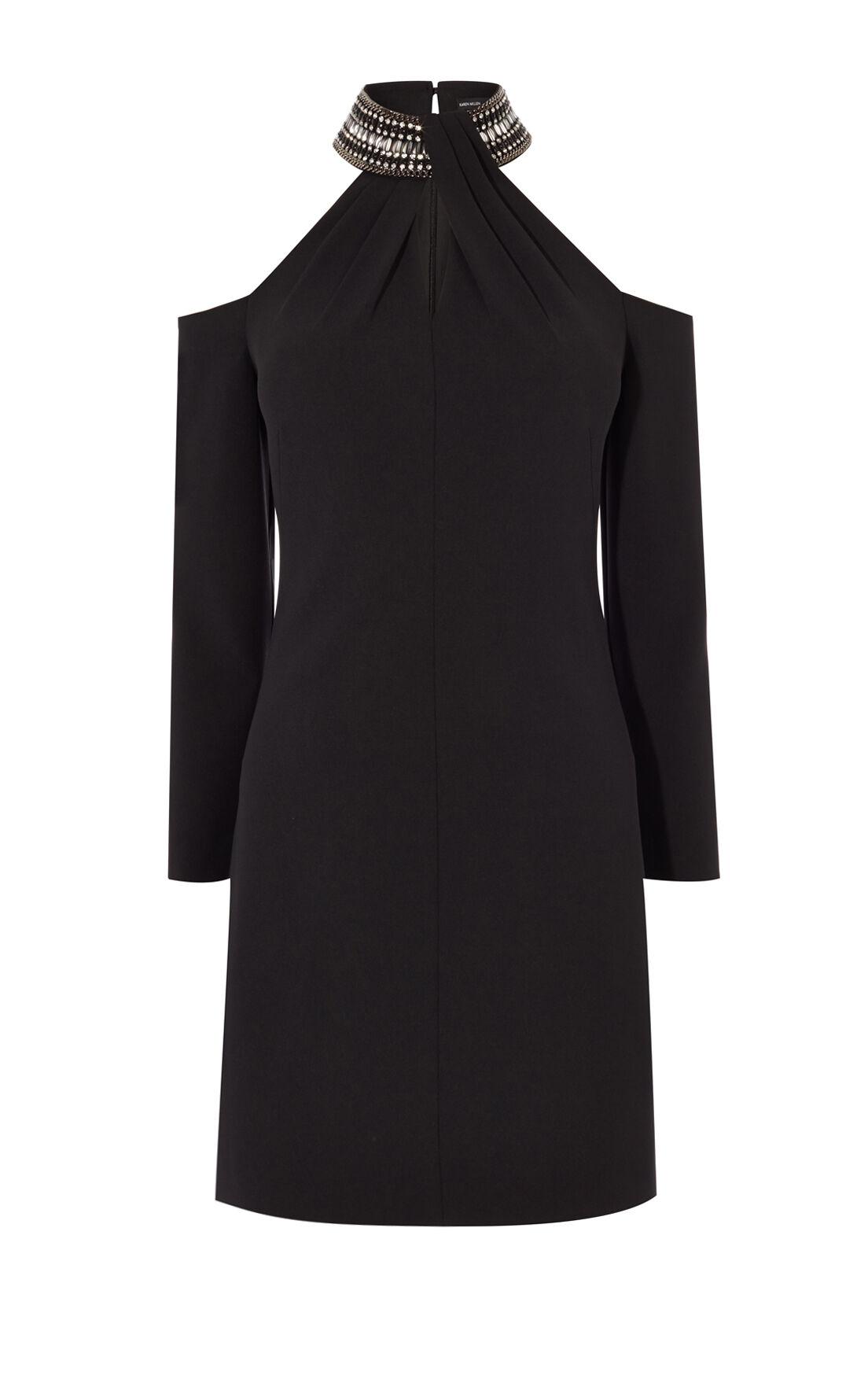 Karen Millen, JEWELLED NECKLINE DRESS Black 0