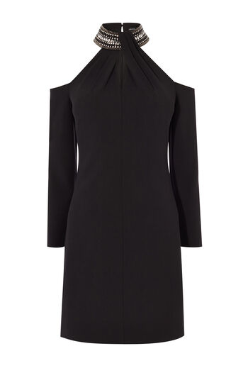 Karen Millen, JEWELLED NECKLINE DRESS Black 0