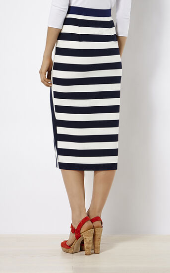 Karen Millen, STRIPED JERSEY SKIRT Blue/Multi 3