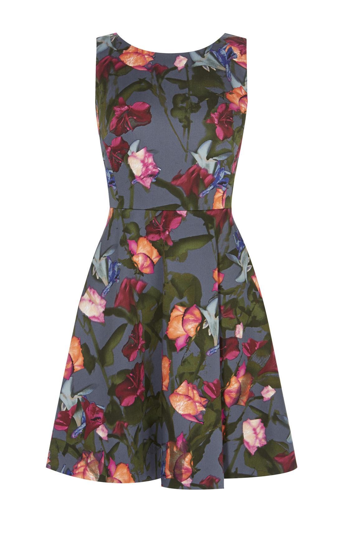 Karen Millen, STORMY ROSES DRESS Multicolour 0