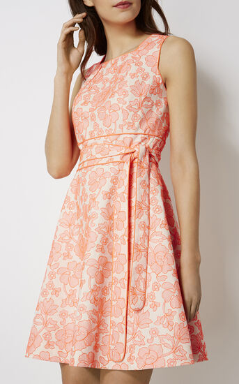 Karen Millen, FLORAL JACQUARD DRESS Red/Multi 2