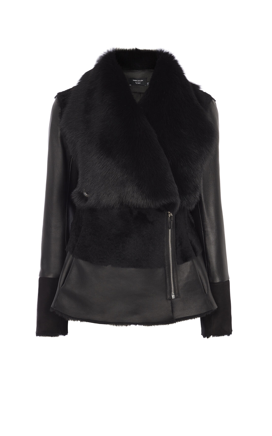 Karen Millen, BLACK SHEARLING JACKET Black 0