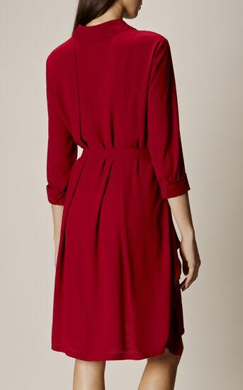 Karen Millen, ASYMMETRIC SHIRT DRESS Dark Red 3